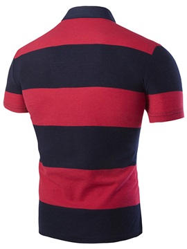 Colorful Wide Stripe Short Sleeve Logo Men's Polo