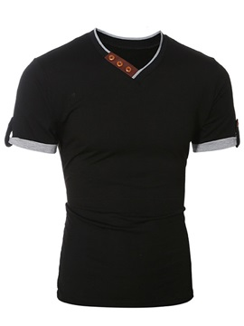 Color Block Casual Men's V-Neck Tee