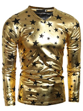 Star Printed Glossy Men's Long Sleeve Tee