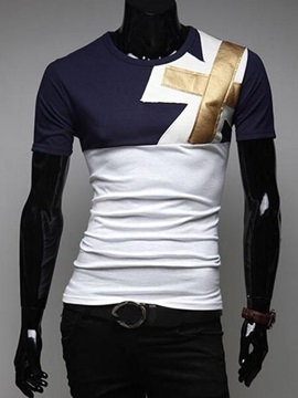 Patchwork Slim Fit Men's Casual Tee