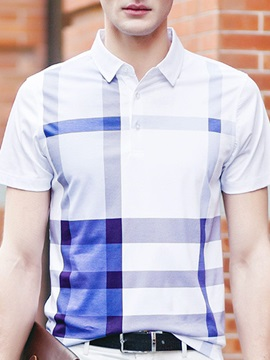 Stripe Turn Down Collar Men's Polo