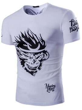 Monkey Printed Men's Short Sleeve Tee