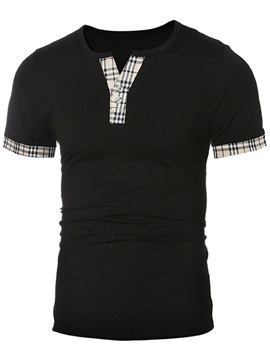 Plaid Patchwork Men's V-Neck Tee