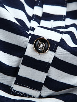 Horizontal Stripe Men's Cotton Blends Polo