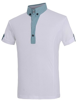 Turn Down Collar Contrast Color Men's Polo