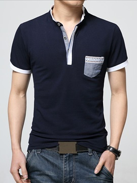 Stand Collar Color Block Men's Polo