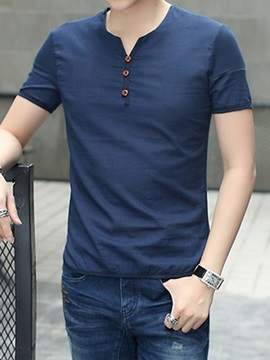 Solid Color Casual Men's Short Sleeve Tee