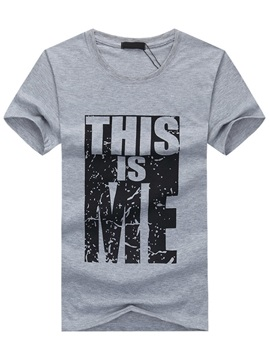 Casual Short Sleeve Men's Letter Printed Tee