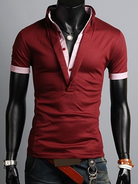 Layered Color Block Slim Fit Men's Stand Collar Polo