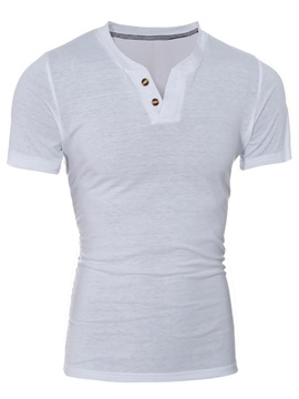 Plain V-Neck Men's Cotton Blends T-Shirt