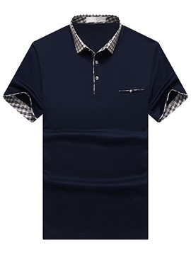 Plaid Patch Chest Pocket Men's Short Sleeve Polo