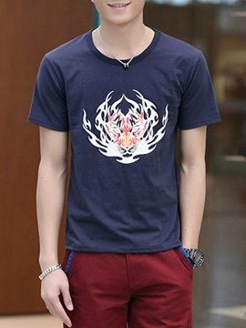 Front Printed Slim Fit Men's Casual Tee