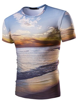 Scenery Printed Men's Short Sleeve T-shirt