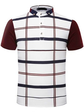 Plaid Men's Short Sleeve Polo