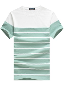 Two-tone Men's Striped Crewneck T-shirt