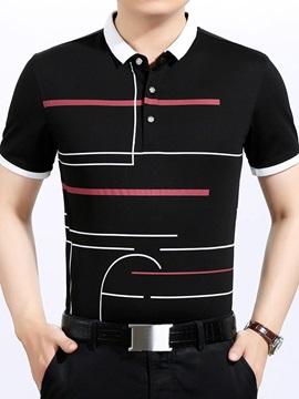 Stripe Color Block Men's Short Sleeve Polo