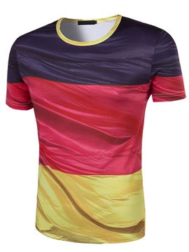 Color Block Round Neck Men's T-Shirt