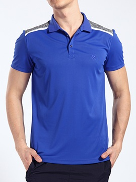 Turn Down Collar Patchwork Men's Polo