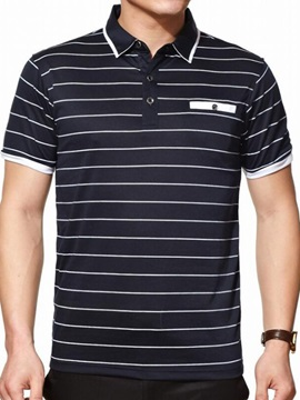 Stripe Relaxed Fit Men's Chest Pocket Polo