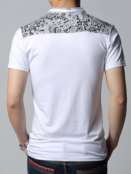 Print Pocket Patchwork Slim Casual Men's Polo