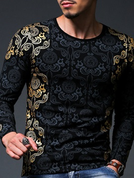 Long Sleeve Vogue Floral Printed Men's Slim Fit T-Shirt