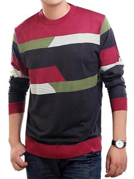 Color Block Long Sleeve Men's Round Neck Wool T-Shirt