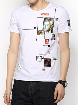 Figure Printed Casual Men's Crew Neck T-Shirt