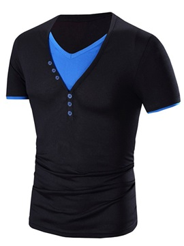 Contrast Color Neck Short Sleeve Casual Men's T-Shirt