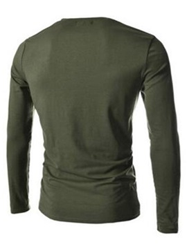 Round Neck Buttons Men's Casual Long Sleeve T-Shirt