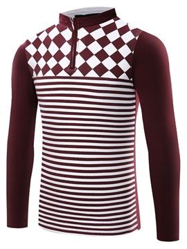 Half-Zipped Striped Men's Polo