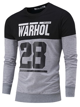 Letter Printed Patchwork Men's Casual Long Sleeve T-Shirt
