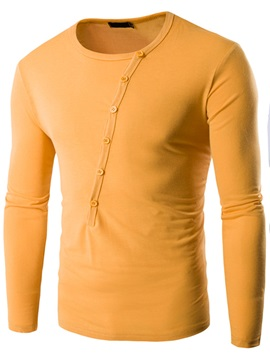 Round Neck Cotton Blends Buttons Men's Long Sleeve T-Shirt