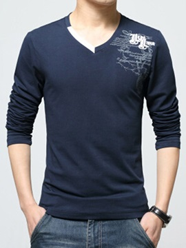 Vogue Printed V-Neck Men's Casual T-Shirt