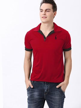 Color Block Chest Printed Casual Polo