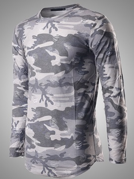 Round Neck Camouflage Men's Mid-Length T-Shirt