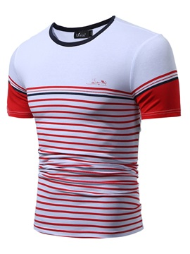 Stripe Slim Patchwork Round Neck Men's T-shirt