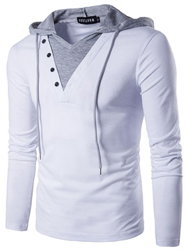 Lace-up Hooded Patchwork Men's T-shirt
