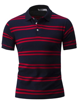Stripe Patch Short Men's Casual Polos