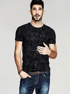 Fashion Floral Slim Men's Short Sleeve T-shirt