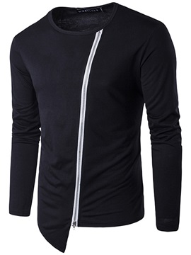 Unique Zipper Asymmetric Round Neck Men's T-shirt