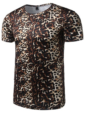 Leopard Print Short Sleeve Men's Vogue T-shirt