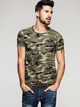 Army Camouflage Print Slim Short Sleeve Men's Casual T-Shirt