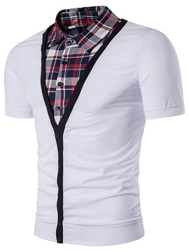Double-Layer Plaid Slim Men's T-shirt