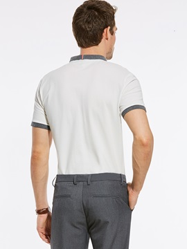 Tidebuy Lapel Plain Short Men's Slim T-Shirt