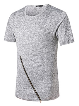 Plain Simple Zipper Vogue Round Neck Men's T-Shirt