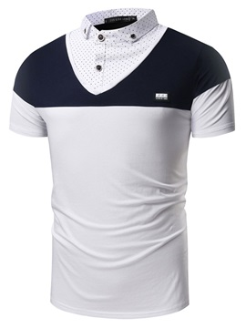Double-Layer Color Block Lapel Men's T-Shirt