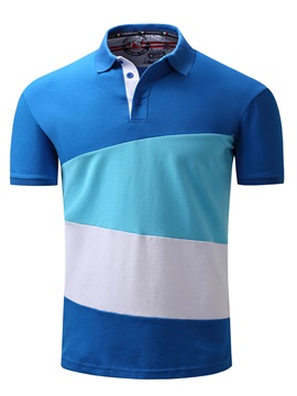 Color Block Lapel Patchwork Short Men's Polos