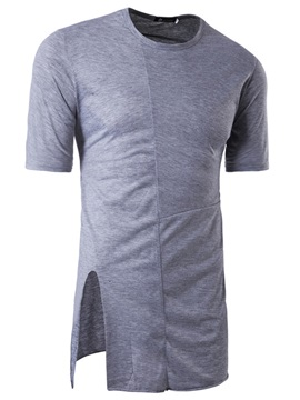 Mid-Length Loose Plain Summer Men's T-Shirt