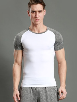 Round Neck Patchwork Slim Sports Men's Tee