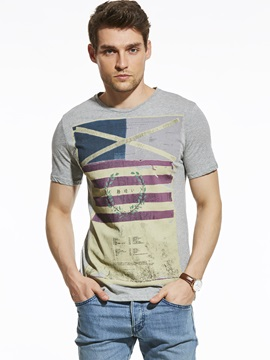 European Geometric Printed Men's Slim T-Shirt